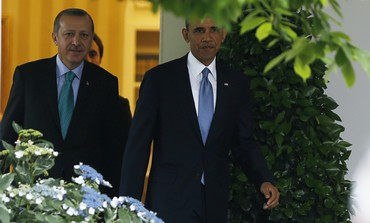 Erdogan and Obama arrive in the Rose Garden for press conference