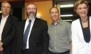 Panelists Gerald Steinberg, David Olesker, Simon Plosker, debate moderator Leah Zinder.