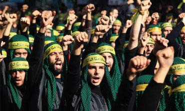 Hezbollah supporters take part in the ashura religious ceremony in Beirut.
