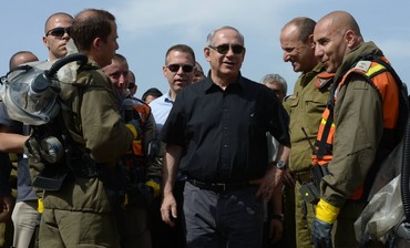 Prime Minister Binyamin Netanyahu at a chemical warfare drill in Jerusalem May 29, 2013.