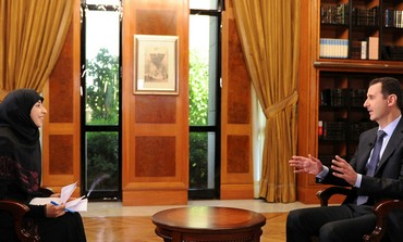 President Bashar al-Assad in an interview with al-Manar TV in Damascus, on May 30,2013 .