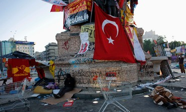 People sleep at Taksim Square, June 10, 2013