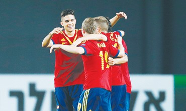 Spain celebrating during the  U-21 European Championships