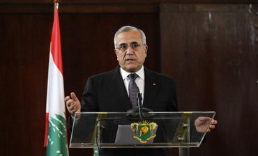Lebanon's President Michel Suleiman talks, March 15, 2013.