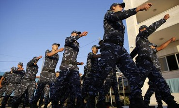 Cadets of the Fatah-led Palestinian security forces take part in a training session in the West Bank