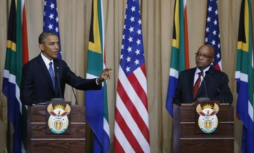 US President Barack Obama speaks during a joint news conference with South Africa's President