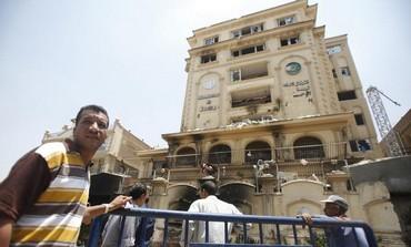 The ransacked Muslim Brotherhood building in Cairo
