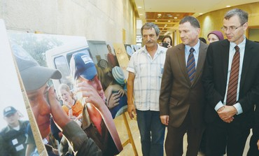 COALITION CHAIRMAN Yariv Levin and Knesset Speaker Yuli Edelstein visit a new exhibition