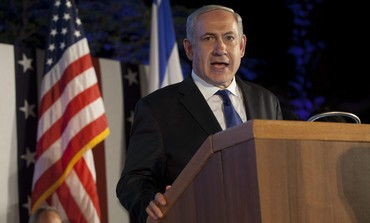 Netanyahu at the US embassy's annual Fourth of July celebration, July 4, 2013
