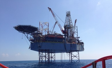 Atwood beacon oil rig, drilling for oil off the coast of Ashdod.