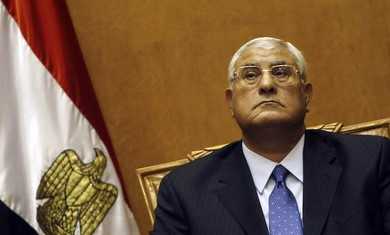 Egyptian interim president Adli Mansour is sworn in, July 4, 2013