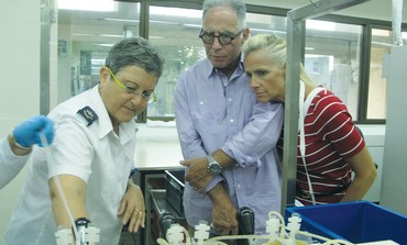 KEN BARUN and his wife, Sethea, are shown around a Magen David Adom national blood center.
