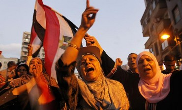 Anti-Morsi protesters celebrate in Alexandria, June 7, 2013.
