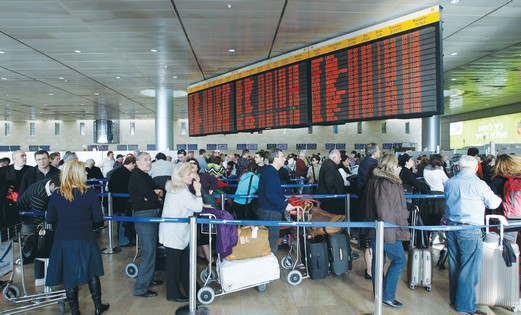Travelers at Ben Gurion Airport.