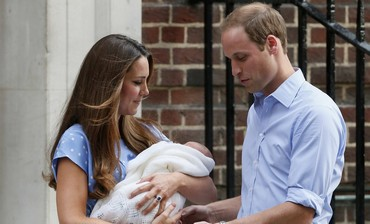 Prince William and Catherine present new son at St Mary's Hospital, July 23, 2013.