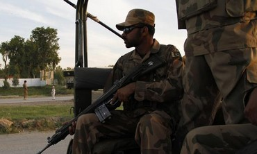 A Pakistani paramilitary soldier.