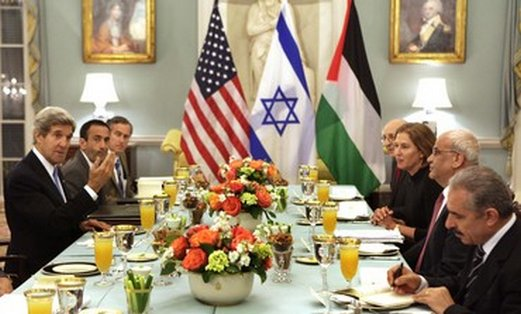 Israeli, Palestinian delegations meet in Washington for iftar dinner, July 29, 2013.