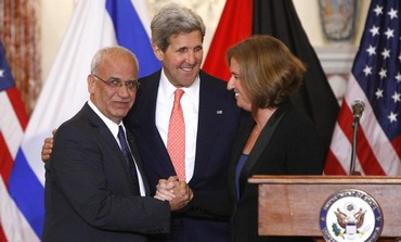 Secretary of State John Kerry hold press conference with Tzipi Livni and Saeb Erekat, July 30, 2013.