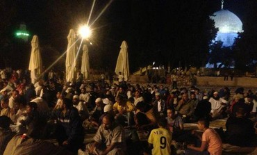 Palestinian youth spending the night on Temple Mount during Ramadan.