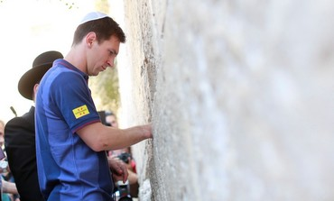 Barcelona striker Lio Messi at the Western Wall