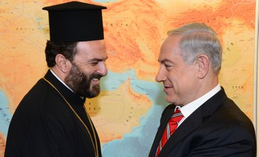 Prime Minister Binyamin Netanyahu meets Father Gabriel Nadaf, August 5, 2013.