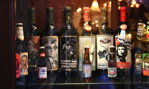 Beer and wine bottles with Adolf Hitler, Mussolini, Che Guevara and others, found in Cefalù, Sicily