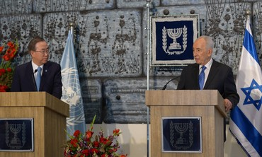 UN Secretary-General Ban Ki-moon and President Shimon Peres, August 16, 2013.