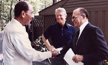 Menachem Begin, Jimmy Carter and Anwar Sadat at Camp David in 1978.