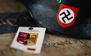 A motorcycle helmet with Nazi swastika sign for sale [file]