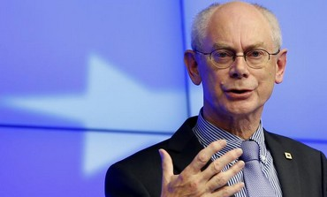 European Council President Herman Van Rompuy speaks at a news conference