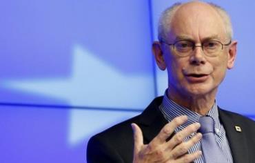 European Council President Herman Van Rompuy speaks at a news conference