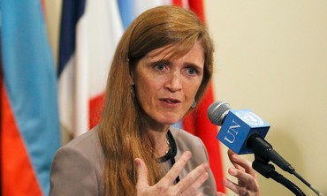 U.S. Ambassador Samantha Power speaks following a United Nations Security Council meeting.