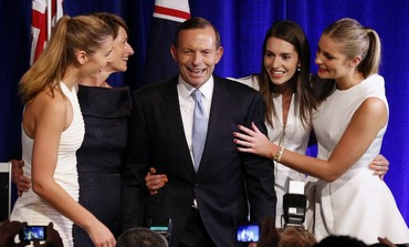 Conservative candidate Tony Abbott vlaims victory in Australia's federal election, Sept. 7, 2013