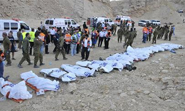The scene of a bus crash near Eilat that killed 24 Russian tourists in December 2008.