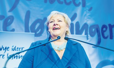 NORWEGIAN CONSERVATIVE LEADER Erna Solberg addresses supporters, Sept 9