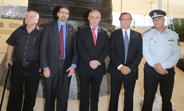 LEADERS FROM the US and Israel pose in front of the 9/11 Living Memorial in Jerusalem