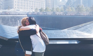 North Pool of the 9/11 Memorial during a ceremony at the World Trade Center in New York.