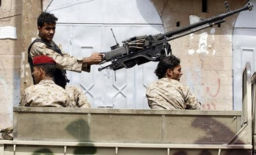 Soldiers during a patrol in Sanaa, Yemen.