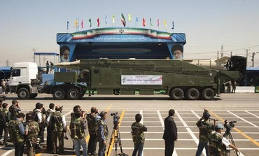 Iranian Sejil 2 missile is displayed during military parade [file]