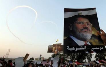 A poster of deposed Egyptian President Mohamed Morsi.