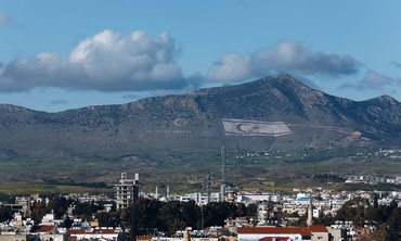 GIANT Turkish flag is seen displayed on the side of a mountain near Nicosia in Turk-occupied Cyprus