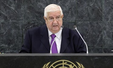Syrian Foreign Minister Walid al-Moualem addresses the UN  in New York September 30, 2013.