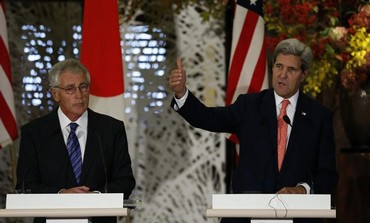 US Secretary of State John Kerry (R) and US Secretary of Defense Chuck Hagel (L) in Tokyo,