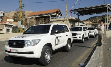 UN chemical weapons investigators enter Syria from Lebanon, Sept. 30