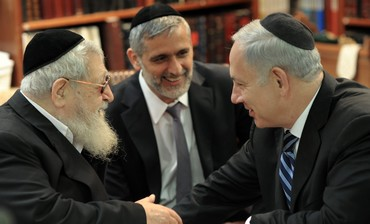 Rabbi Ovadia Yosef, Shas MK Eli Yishai, and PM Netanyahu