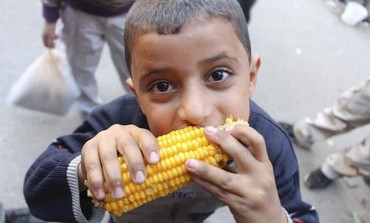Syrian boy eats corn in Aleppo