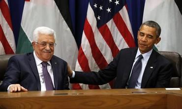 Palestinian Authority President Mahmoud Abbas with US President Barack Obama.
