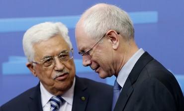 Abbas meets European Council President Herman Van Rompuy in Brussels, October 23, 2013