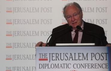 CRIF leader Roger Cuckierman addresses Jerusalem Post Conference, October 24, 2013