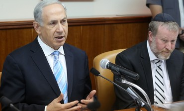 Prime Minister Binyamin Netanyahu at the weekly cabinet meeting, October 27, 2013.